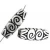 Metalized Bead with Sterling Silver coating 30x10mm Rectangle Spiral